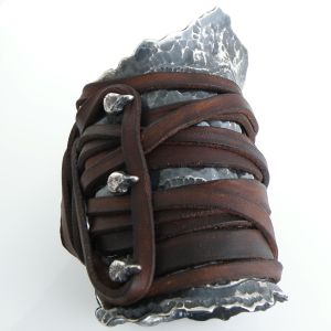 hand forged and chased oxidized sterling silver cuff