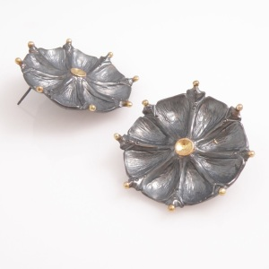 Oxidized sterling silver earrings with 14k gold bead detail and 14k gold center.